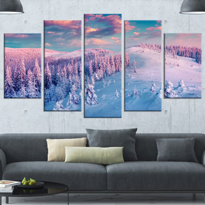 Designart Fantastic Sunrise Over The Carpathians(373) Landscape Canvas Art Print - 5 Panels