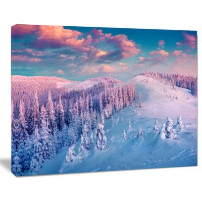 Designart Fantastic Sunrise Over The Carpathians Landscape Canvas Art Print