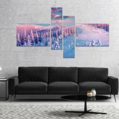 Designart Fantastic Sunrise Over The CarpathiansLandscape Canvas Art Print - 4 Panels