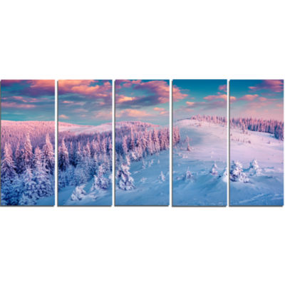 Designart Fantastic Sunrise Over The CarpathiansLandscape Canvas Art Print - 5 Panels