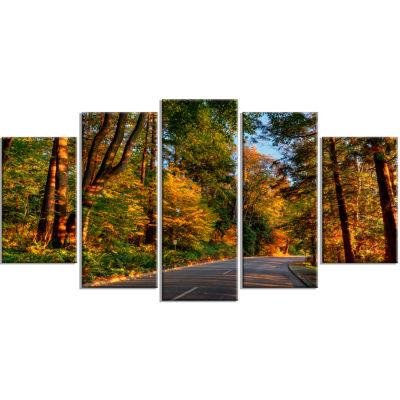 Design Art Road Through Lit Up Fall Forest (373) Landscape Canvas Art - 5 Panels