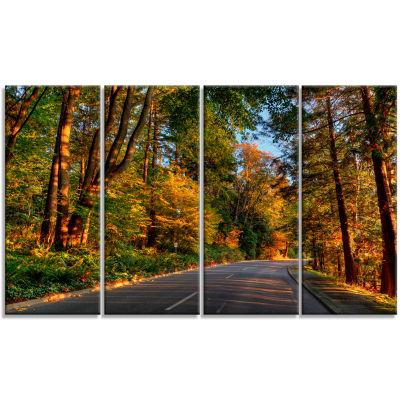 Design Art Road Through Lit Up Fall Forest Landscape Canvas Art - 4 Panels