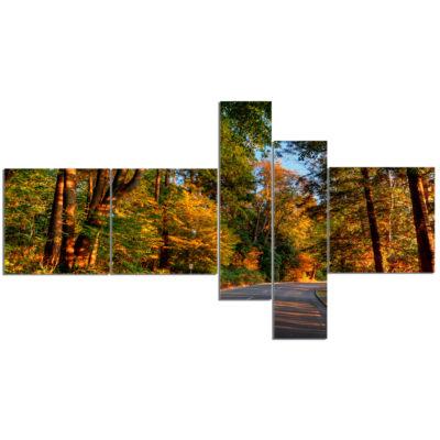 Design Art Road Through Lit Up Fall Forest Landscape Canvas Art - 5 Panels