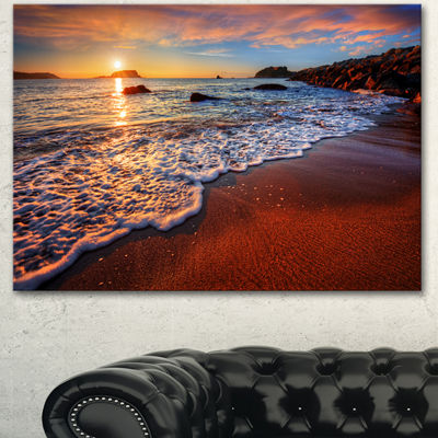 Designart Stunning Ocean Beach At Sunset SeashoreCanvas Art Print