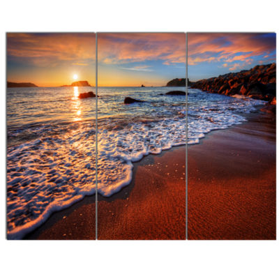 Designart Stunning Ocean Beach At Sunset Seashore Canvas Art Print - 3 Panels