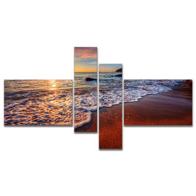 Designart Stunning Ocean Beach At Sunset Seashorecanvas Art Print - 4 Panels