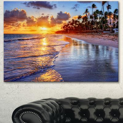 Designart Beach Side Resort With Palm Trees Seashore Canvas Art Print