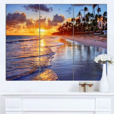 Designart Beach Side Resort With Palm Trees Seashore Canvas Art Print - 3 Panels