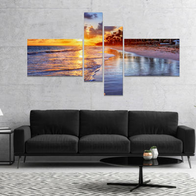 Designart Beach Side Resort With Palm Trees Seashore Canvas Art Print - 4 Panels