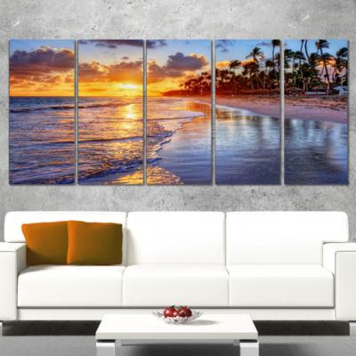 Designart Beach Side Resort With Palm Trees Seashore Canvas Art Print - 5 Panels