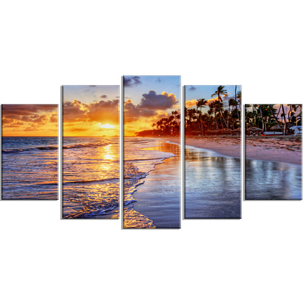 Designart Beach Side Resort With Palm Trees YellowSeashore Canvas Art Print - 5 Panels