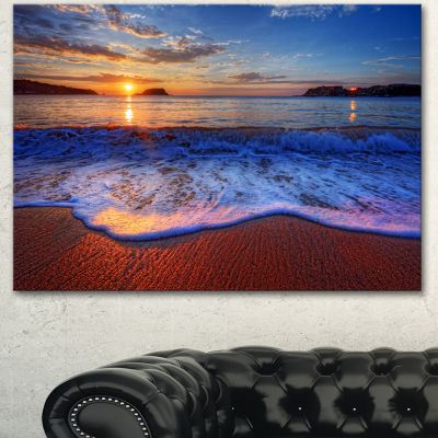 Designart Blue Waves On Sandy Beach Seashore Canvas Art Print