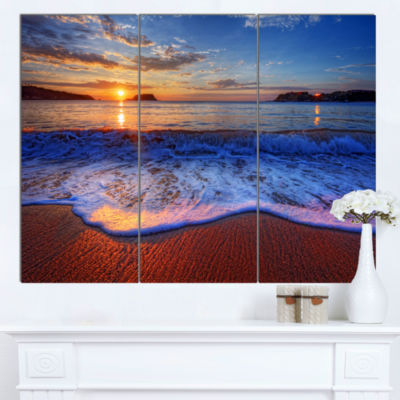 Designart Blue Waves On Sandy Beach Seashore Canvas Art Print - 3 Panels