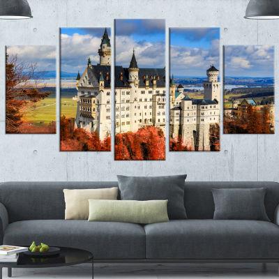 Designart Neuschwanstein Castle With Red Foliage (373) Landscape Canvas Art - 5 Panels