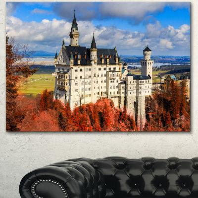 Designart Neuschwanstein Castle With Red Foliage Landscape Canvas Art