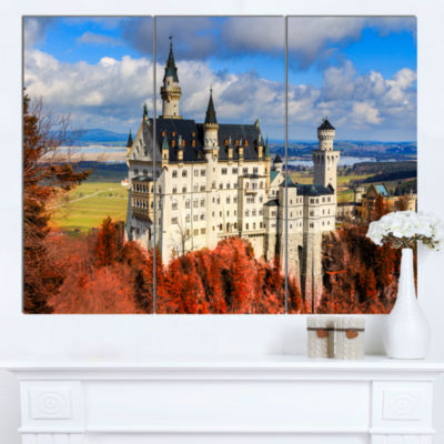 Designart Neuschwanstein Castle With Red Foliage Landscape Canvas Art - 3 Panels