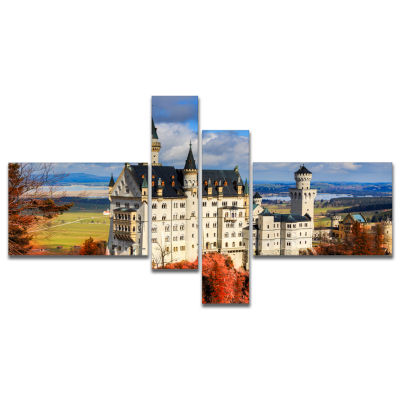 Designart Neuschwanstein Castle With Red Foliage Landscape Canvas Art - 4 Panels