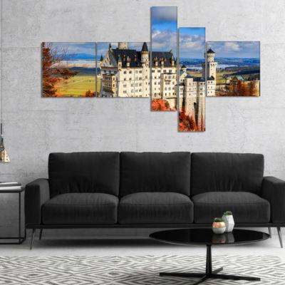 Designart Neuschwanstein Castle With Red Foliage Landscape Canvas Art - 5 Panels