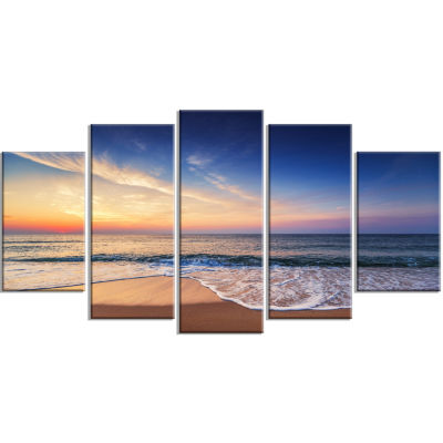 Designart Beautiful Blue Cloudscape Over Sea Blue Seashore Canvas Art Print - 5 Panels