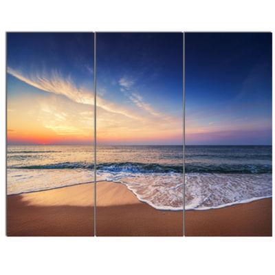 Design Art Beautiful Blue Cloudscape Over Sea Canvas Art Print - 3 Panels
