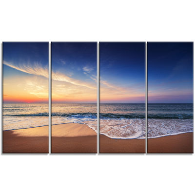 Designart Beautiful Blue Cloudscape Over Sea Canvas Art Print - 4 Panels