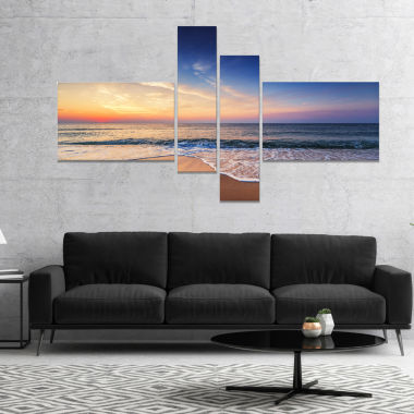 Design Art Beautiful Blue Cloudscape Over Sea Canvas Art Print - 4 Panels