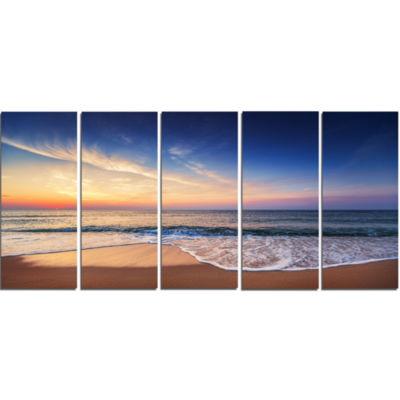Designart Beautiful Blue Cloudscape Over Sea Canvas Art Print - 5 Panels
