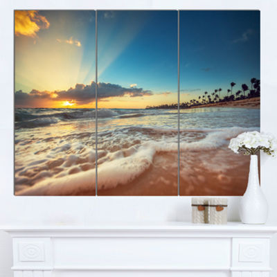 Designart Exotic Beach In Dominican Republic Seashore Canvas Art Print - 3 Panels