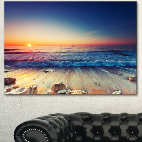 Designart Beautiful Sunrise Over Blue Sea Canvas Art Print