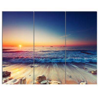 Designart Beautiful Sunrise Over Blue Sea Canvas Art Print - 3 Panels