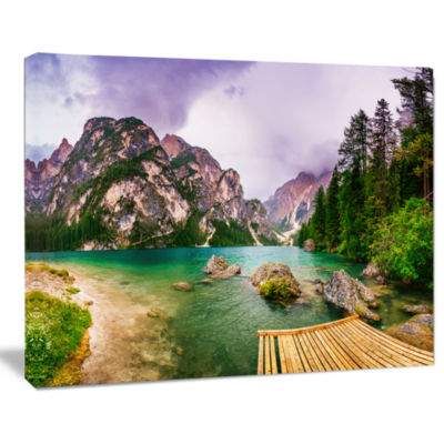 Design Art Mountain Lake Between Mountains Landscape Canvas Art