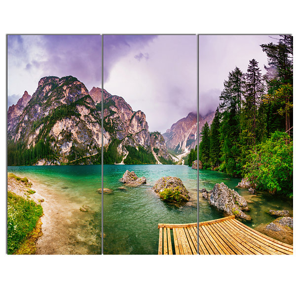 Design Art Mountain Lake Between Mountains Landscape Canvas Art - 3 Panels