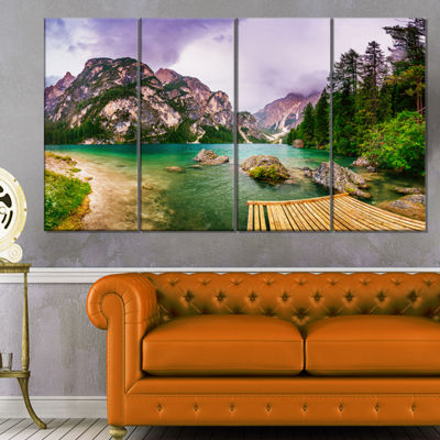 Designart Mountain Lake Between Mountains Landscape Canvas Art - 4 Panels