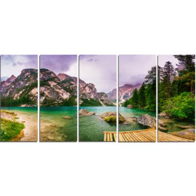 Design Art Mountain Lake Between Mountains Landscape Canvas Art - 5 Panels