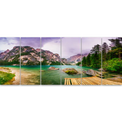 Designart Mountain Lake Between Mountains Landscape Canvas Art - 6 Panels