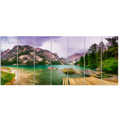 Designart Mountain Lake Between Mountains Landscape Canvas Art - 7 Panels