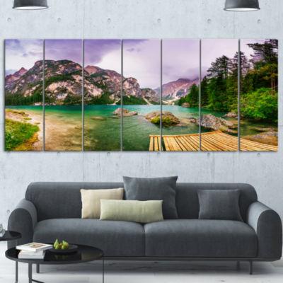 Design Art Mountain Lake Between Mountains Landscape Canvas Art - 7 Panels