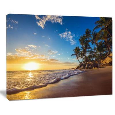 Designart Paradise Tropical Island Beach SunriseSeashore Canvas Art Print