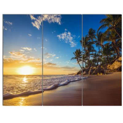 Designart Paradise Tropical Island Beach SunriseSeashore Canvas Art Print - 3 Panels