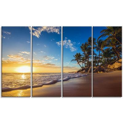 Designart Paradise Tropical Island Beach SunriseSeashore Canvas Art Print - 4 Panels