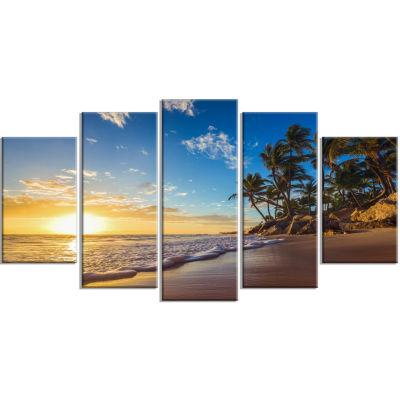 Designart Paradise Tropical Island Beach Sunrise Seashore Canvas Art Print - 5 Panels