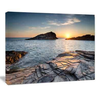 Designart Sunset Over The Cornwall Coast SeashoreCanvas Art Print