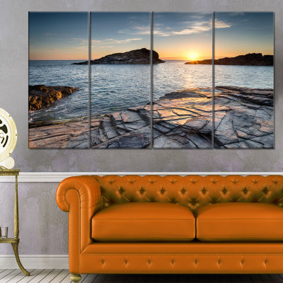 Designart Sunset Over The Cornwall Coast SeashoreCanvas Art Print - 4 Panels