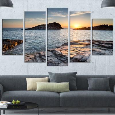 Design Art Sunset Over The Cornwall Coast SeashoreCanvas Art Print - 5 Panels