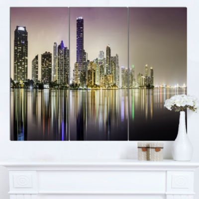 Designart Miami Downtown Night Panorama Canvas ArtPrint - 3 Panels