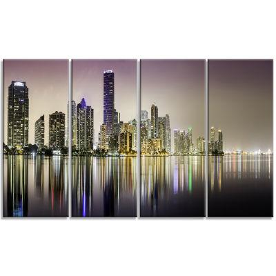 Designart Miami Downtown Night Panorama Canvas ArtPrint - 4 Panels