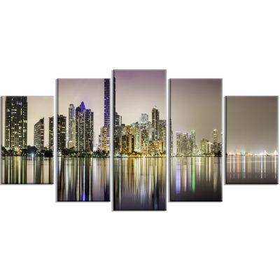 Designart Miami Downtown Night Panorama Purple Canvas Art Print - 5 Panels