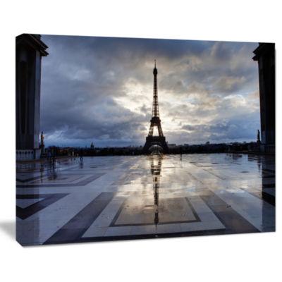 Designart Reflection Of Paris Eiffel Tower with Clouds Canvas Art Print