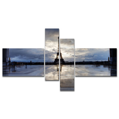 Designart Reflection Of Paris Eiffel Tower with Clouds Canvas Art Print - 4 Panels