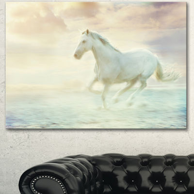 Designart Fantasy White Horse Animal Canvas Art Print